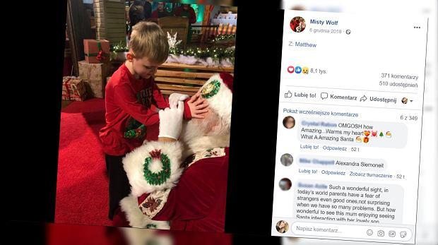 Niewidomy chłopiec z autyzmem po raz pierwszy spotkał się ze św. Mikołajem. Jego reakcja jest wzruszająca