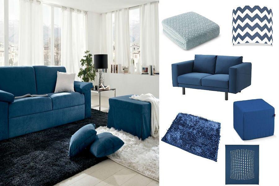 Meble i dodatki do salonu w kolorze niebieskim