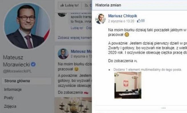 Niektóre wpisy na stronie premiera Morawieckiego umieszczała inna osoba