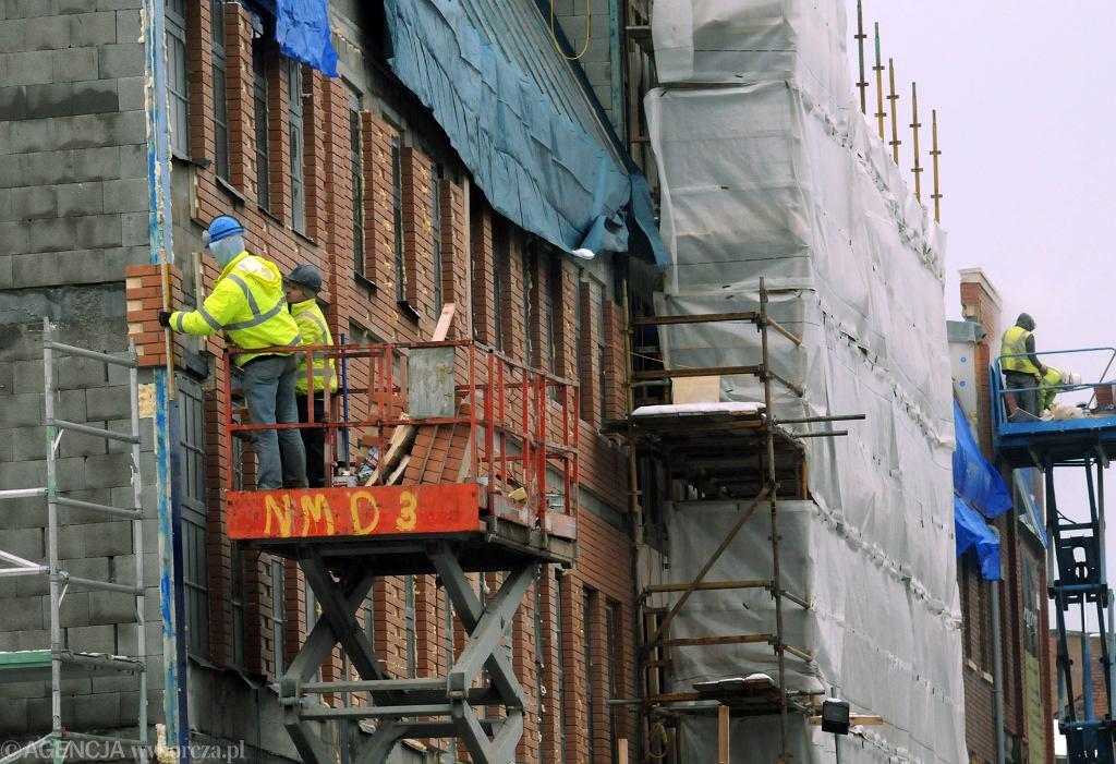 Polacy pracujący na budowie w Wielkiej Brytanii. Zdjęcie ilustracyjne