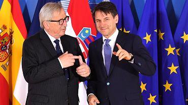 Jean-Claude Juncker i  Giuseppe Conte podczas nieformalnego szczytu UE ws. migracji
