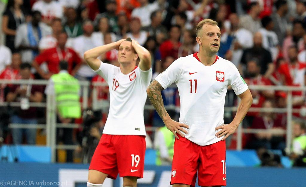 Mundial 2018. Piotr Zieliński i Kamil Grosicki podczas meczu Polska - Senegal