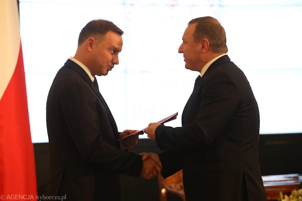 Prezydent Andrzej Duda i prezes TVP Jacek Kurski (2017 r.)