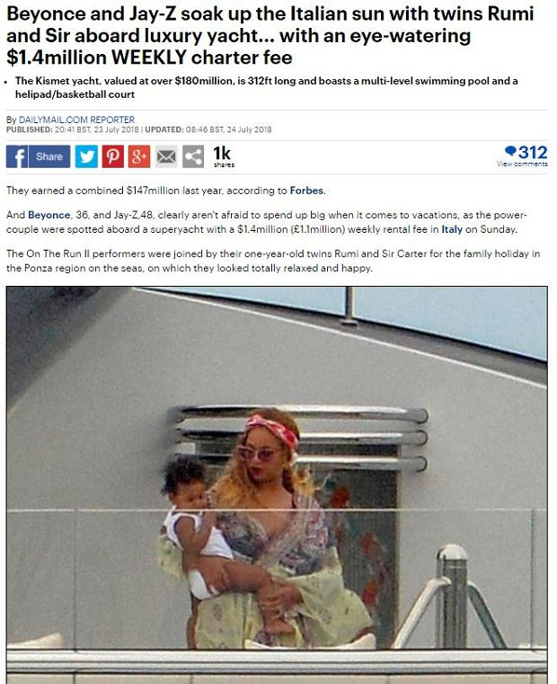 Beyonce na jachcie