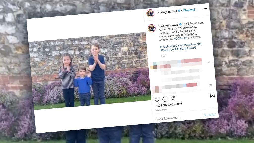 Dzieci księżnej Kate i księcia Williama biły brawa pracownikom służby zdrowia