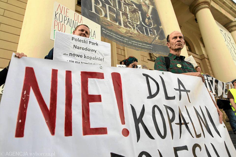 Lublin. Protest ekologów przeciw planom budowy kopalni na Lubelszczyźnie