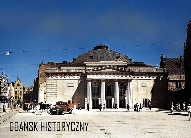 Zdjęcie numer 12 w galerii - Zdjęcia przedwojennego i powojennego Gdańska w kolorze. Zieleń drzew i czerwone cegły Bazyliki Mariackiej