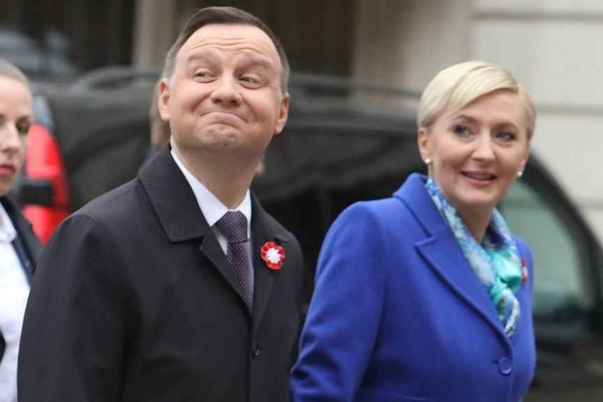 Agata i Andrzej Dudowie na obchodach Święta Flagi w Warszawie