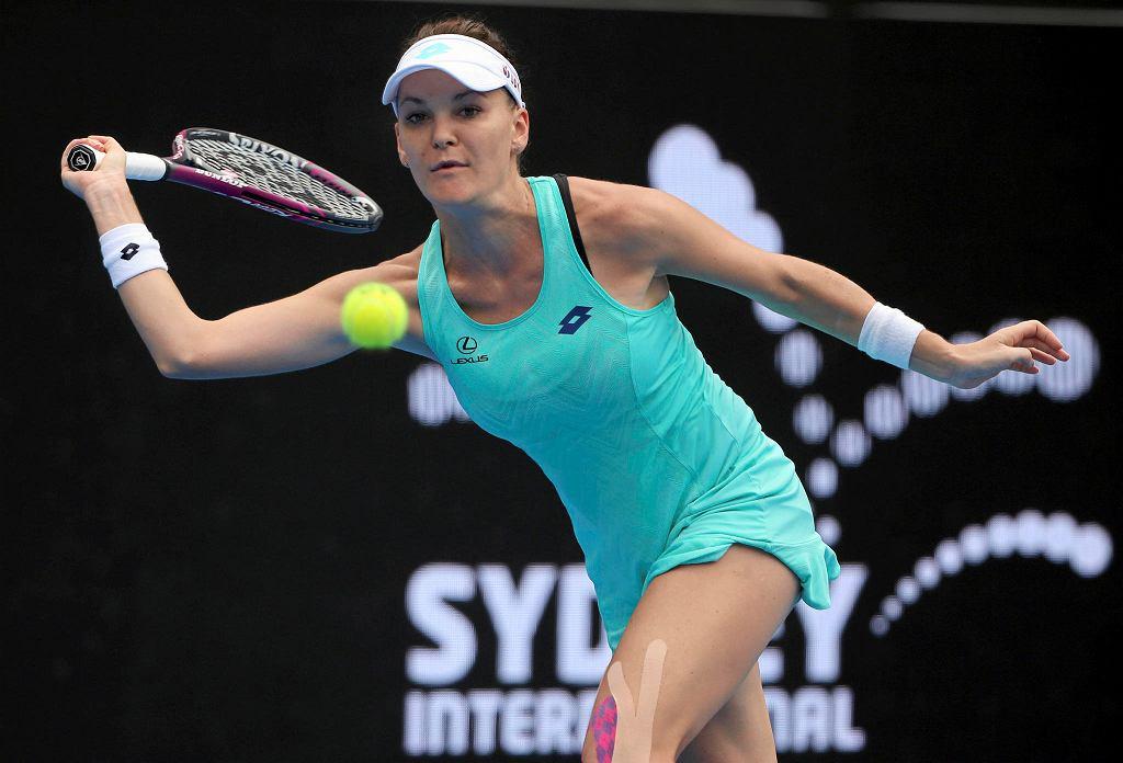 Agnieszka Radwańska podczas ćwierćfinałowego meczu z Camilą Giorgi. Sydney, 11 stycznia 2018