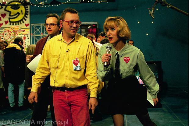 Jurek Owsiak i Agata Młynarska podczas finału WOŚP w 1993 roku