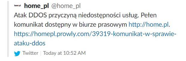 Atak DDOS przyczyną problemów Home.pl