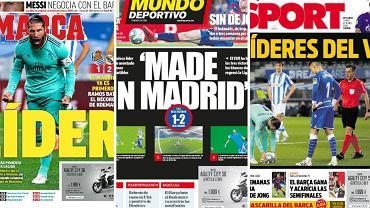Okładki hiszpańskich gazet po meczu Realu