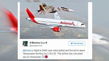W przechwyceniu samolotu pasażerskiego brał udział wenezuelski myśliwiec Su-30