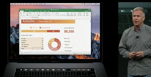 MacBook Pro i Office wykorzystujący Touchbar