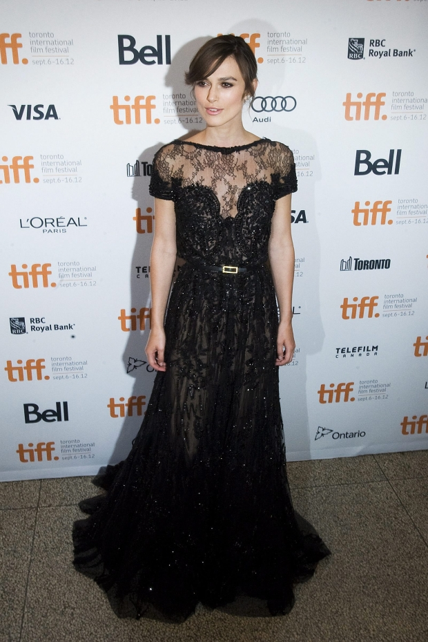 """Actress Keira Knightley poses for a photo on the red carpet at the Elgin Theatre for the film """"Anna Karenina"""" during the 2012 Toronto International Film Festival in Toronto on Friday, Sept. 7, 2012. (AP Photo/The Canadian Press, Aaron Vincent Elkaim)"""