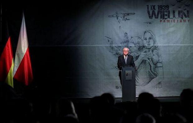 Prezydent Niemiec Frank-Walter Steinmeier podczas uroczystości w Wieluniu z okazji 80. rocznicy wybuchu II wojny światowej