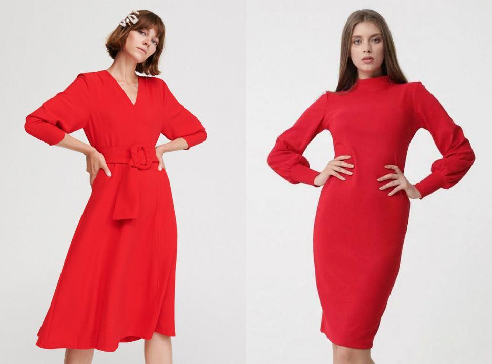 Czerwone, gładkie sukienki na jesień