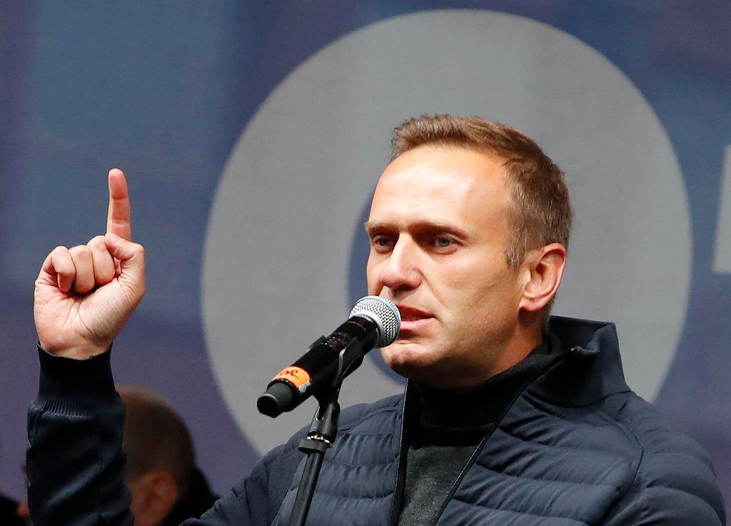 Aleksiej Nawalny podczas demonstracji. Moskwa, 29 września 2019
