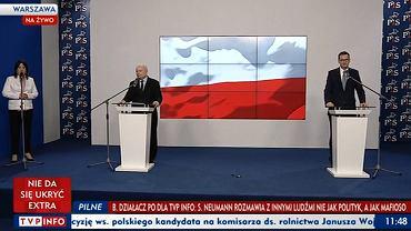 Konferencja prezesa PiS Jarosława Kaczyńskiego i premiera Mateusza Morawieckiego
