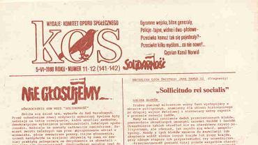 """Redakcja podziemnego dwutygodnika KOS napisała list otwarty do czytelników """"Gazety Wyborczej"""""""