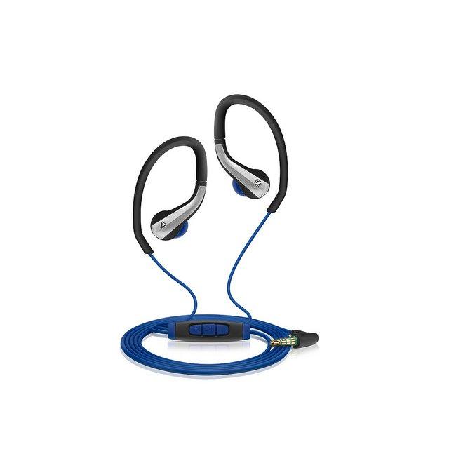 Sportowe słuchawki Sennheiser/adidas Sports OCX 685 i. Model dokanałowy z elastycznymi pałąkami wokółusznymi. Waga: 16 gramów. Słuchawki są wyposażone w wodoodporny pilot z mikrofonem