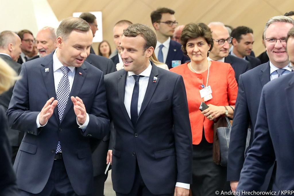 Spotkanie Andrzeja Dudy i Emmanuela Macrona przy okazji szczytu NATO w Brukseli