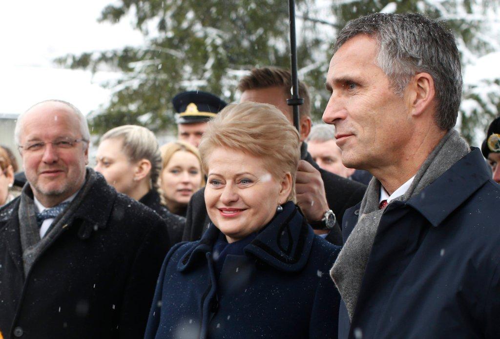 Prezydent Litwy Dalia Grybauskaite i Jens Stoltenberg, sekretarz generalny NATO
