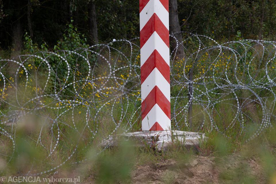 Zasieki z drutu kolczastego na granicy Polsko-Białoruskiej, 24 sierpnia 2021