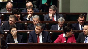 Ewa Kopacz i członkowie jej rządu podczas posiedzenia Sejmu