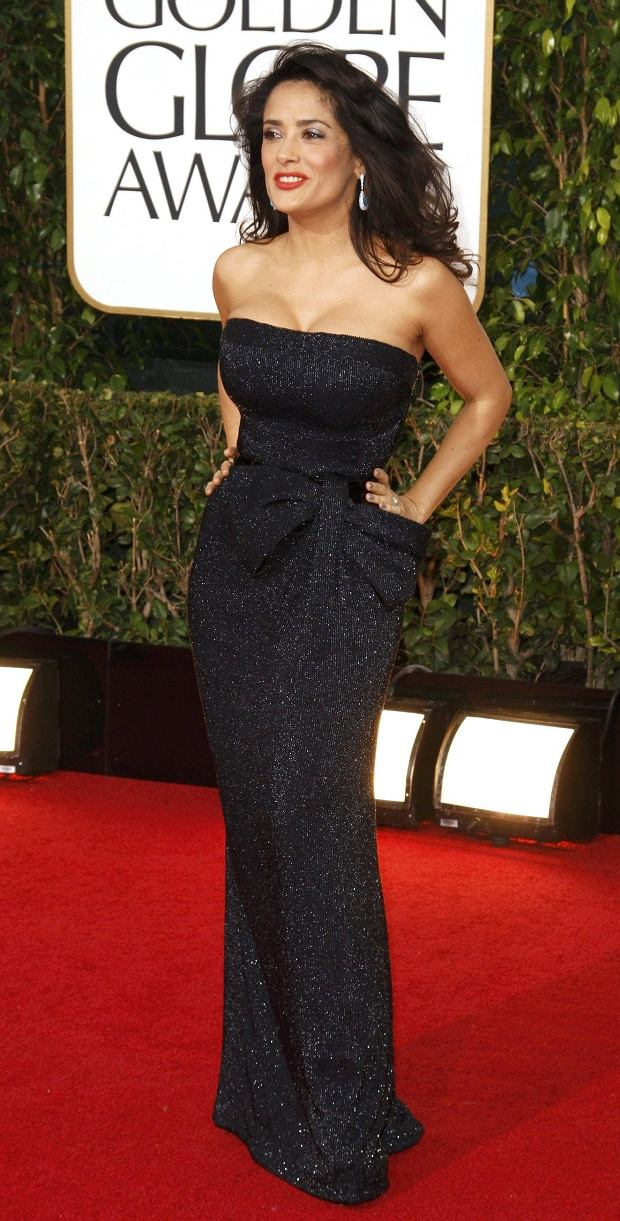 Actress Salma Hayek at the 70th annual Golden Globe Awards in Beverly Hills, California January 13, 2013. REUTERS/Jason Redmond (UNITED STATES - Tags: Entertainment) (GOLDENGLOBES-ARRIVALS)