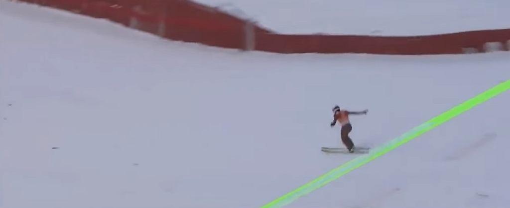 Kamil Stoch w trakcie rekordowego skoku w Trondheim