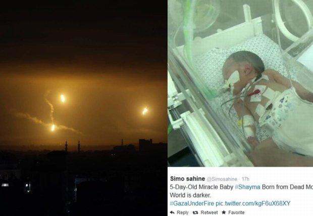 Rozświetlone flarami niebo nad Gazą/Mała Shayma