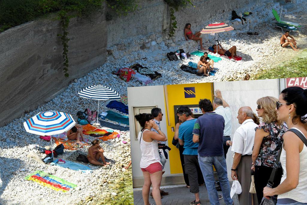 Turyści w Grecji i kolejki do bankomatów
