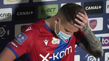 Kamil Piątkowski podczas meczu PKO Ekstraklasy Raków Częstochowa - Pogoń Szczecin, 29 stycznia 2021 r.