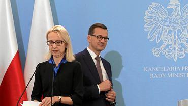 Minister finansów Teresa Czerwińska i Premier Mateusz Morawiecki