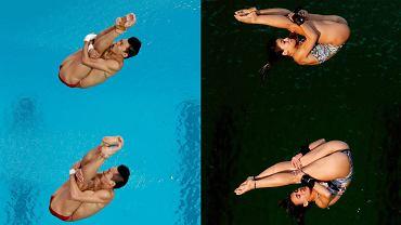 Z lewej chińscy skoczkowie Lin Yue i Chen Aisen podczas poniedziałkowego konkursu skoków do wody mężczyzn. Z prawej Brazylijki Ingrid Oliveira i Giovanna Pedroso podczas konkursu wtorkowego kobiet. Woda na obiekcie Maria Lenk Aquatic Center zmieniła kolor z niebieskiej na zieloną. Nie wiadomo, dlaczego