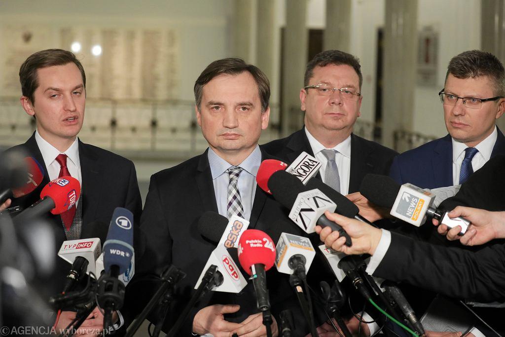 Od lewej: Sebastian Kaleta, Zbigniew Ziobro , Michał Wójcik, Marcin Warchoł