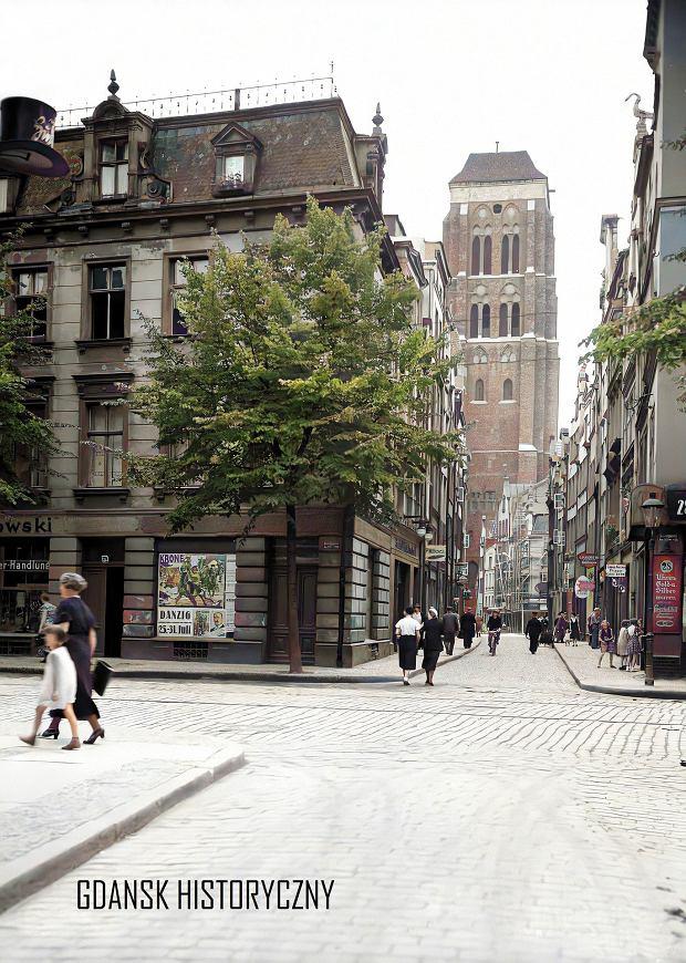 Zdjęcie numer 13 w galerii - Zdjęcia przedwojennego i powojennego Gdańska w kolorze. Zieleń drzew i czerwone cegły Bazyliki Mariackiej
