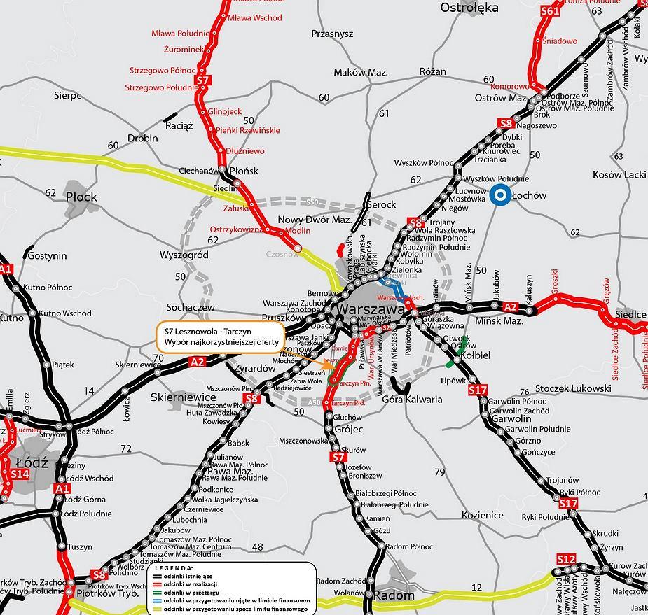 Droga S7 wokół Warszawy
