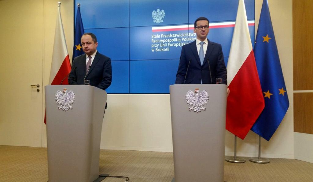 Konferencja premiera Morawieckiego po spotkaniu z szefem KE Jean-Claude'm Junckerem oraz wiceszefem komisji Fransem Timmermansem