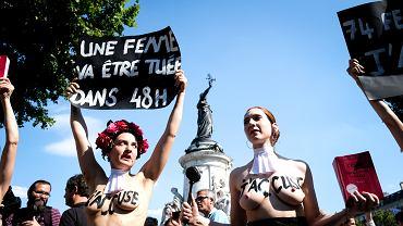 6.07.2019, Paryż, manifestacja przeciw kobietobójstwu. Na pierwszym planie członkinie organizacji Femen