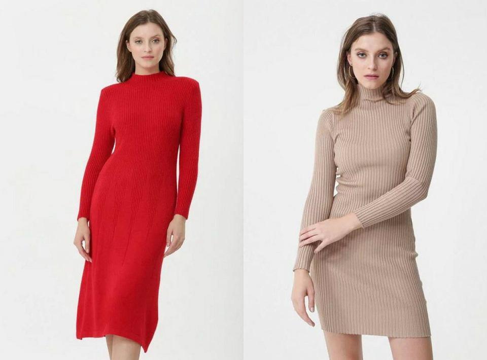 Dopasowane sukienki z długim rękawem