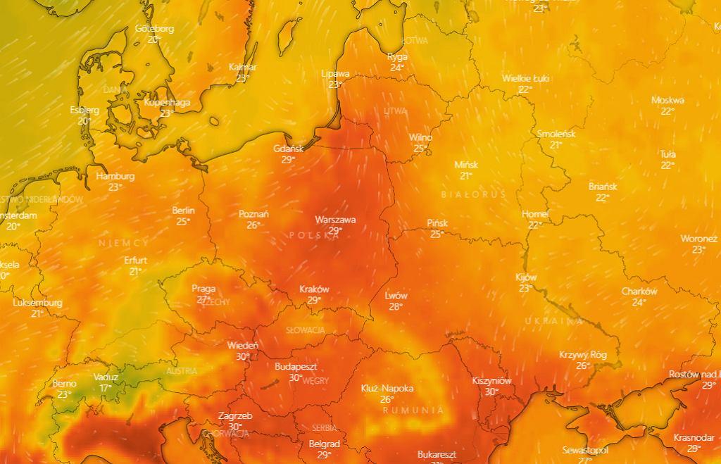 Temperatura w Polsce, 22 sierpnia, godz. 15:00.