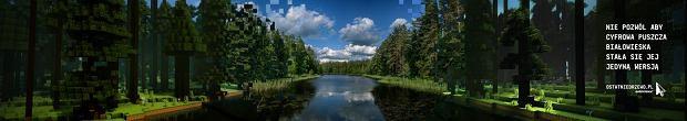 Jezioro Topiło - zestawienie prawdziwego miejsca w Puszczy Białowieskiej i jego minecraftowego odpowiednika.