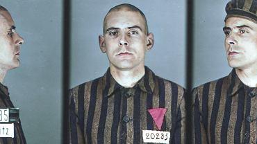 Walter Degen (ur. w 1909 r.), ślusarz z Morchingen (dziś Morhange w północnej Francji), został przywieziony do obozu w Auschwitz transportem 29 sierpnia 1941 r. Został zarejestrowany zarówno jako więzień polityczny, jak i homoseksualista. Zdjęcie zostało skoloryzowane w ramach projektu 'Faces of Auschwitz'