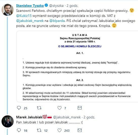 Wymiana zdań między posłami: Tyszką i Jakubiakiem