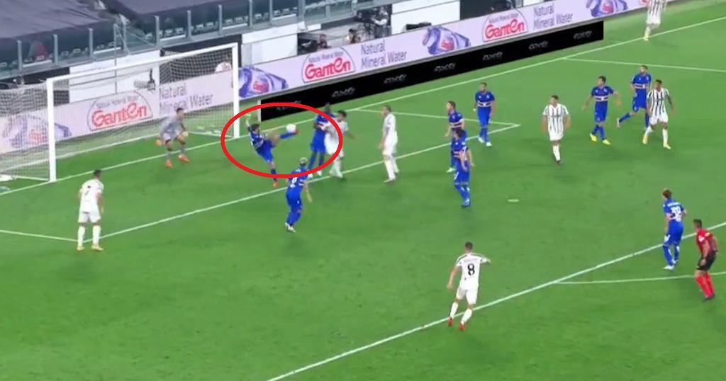 Kiks Bartosza Bereszyńskiego w meczu Juventus - Sampdoria