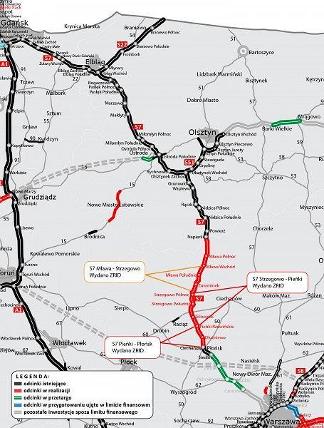 Kolejny odcinek trasy S7 Mława - Strzegowo, krajowa 'siódemka'