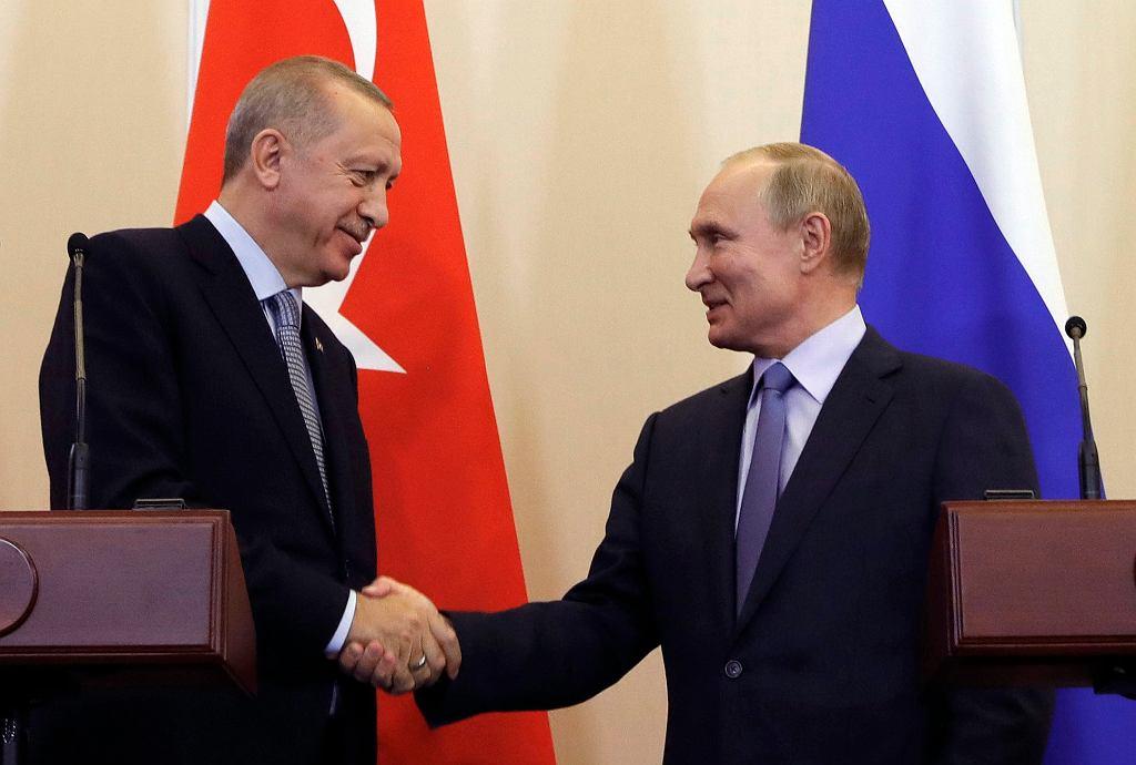Recep Tayyip Erdogan i Władimir Putin dogadali się w sprawie Syrii, Soczi, 22 października 2019 r.