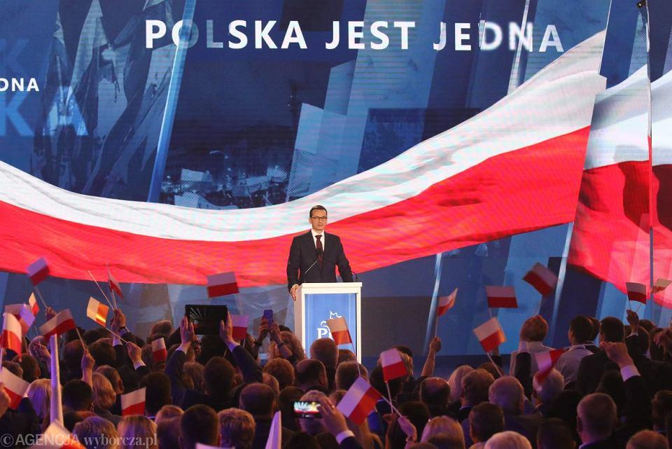 Premier Mateusz Morawiecki podczas konwencji Prawa i Sprawiedliwości, 14 kwietnia 2018.